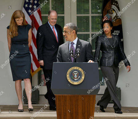 Barack Obama, Susan Rice, Tom Donilon, Samantha Power. President Barack Obama waits at the podium in the Rose Garden of the White House in Washington., for, from left, Samantha Power, his nominee to be the next UN Ambassador, National Security Advisor Tom Donilon, who is resigning and current UN Ambassador Susan Rice, right, as his choice to be his next National Security Advisor, prior to making the announcment