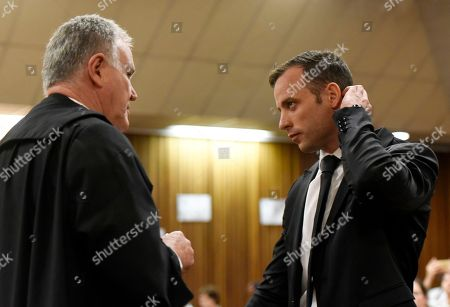Oscar Pistorius, Barry Roux. Oscar Pistorius, right, consults with his defense lawyer Barry Roux in a courtroom of the North Gauteng High Court in Pretoria, South Africa, . Pistorius arrived in the South African courtroom, where he is expected to apply for bail following his conviction for murdering girlfriend Reeva Steenkamp