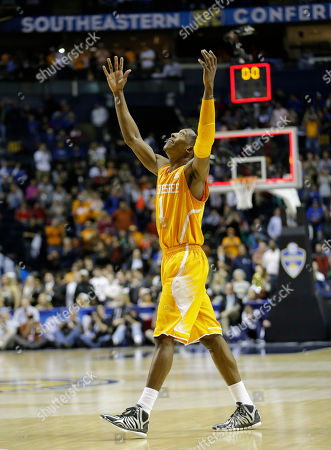 Tennessee guard Josh Richardson (1) celebrates after an NCAA college basketball game in the second round of the Southeastern Conference tournament against Vanderbilt, in Nashville, Tenn. Tennessee won 67-61