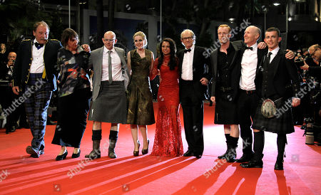 Charlie Maclean, Gary Maitland, Siobhan Reilly, Jasmin Riggins, Ken Loach, William Ruane, Paul Laverty, Paul Brannigan. From left actor Charlie Maclean, unidentified person, actors Gary Maitland, Siobhan Reilly, Jasmin Riggins, director Ken Loach, actors William Ruane, Paul Laverty and Paul Brannigan arrive for the screening of The Angel's Share at the 65th international film festival, in Cannes, southern France