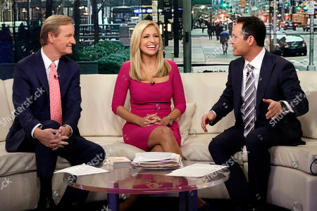 "Ainsley Earhardt, Steve Doocy, Brian Kilmeade. Fox News host Ainsley Earhardt makes her debut as co-host of the network's morning show ""Fox & Friends"" television program, in New York, . Earhardt replaces Elisabeth Hasselbeck on the""curvy couch"" with Steve Doocy, left, and Brian Kilmeade"