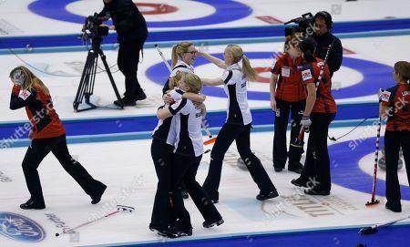 Alina PAETZ Paetz, Nadine Lehmann, Marisa Winkelhausen, Nicole Schwaegli. Switzerland's players, in white, celebrate after winning their final match against Canada at the World Women's Curling Championship in Sapporo, northern Japan, . Switzerland defeated Canada 5-3 and won the championship title