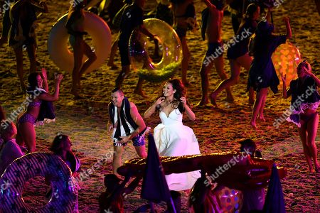 Australian singer Ricki-Lee Coulter performs during the Opening Ceremony of the XXI Commonwealth Games at Carrara Stadium, on the Gold Coast, Australia, 04 April 2018.