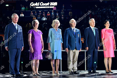 (L-R) Prince Charles, Commonwealth Games Federation President Louise Martin, Camilla, Duchess of Cornwall, Gold Coast Commonwealth Games Chairman Peter Beattie, Australian Prime Minister Malcolm Turnbull and Queensland Premier Annastacia Palaszczuk look on during the Opening Ceremony of the XXI Commonwealth Games at Carrara Stadium, on the Gold Coast,  Australia, 04 April 2018.