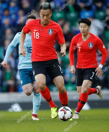 South Korea's Kim Shin-wook during a friendly soccer match between Northern Ireland and Korea Republic in Belfast, Northern Ireland, Saturday, March, 24, 2018