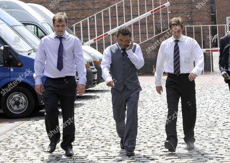 Stock Image of Simon Gregson, Craig Charles, and Nick Cochrane.