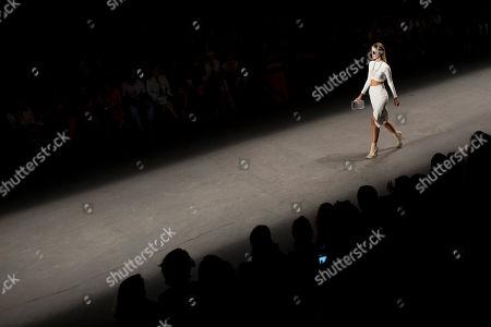 Stock Image of Brazilian model Yasmin Brunet wears a creation from the Auslander winter collection during Fashion Rio in Rio de Janeiro, Brazil