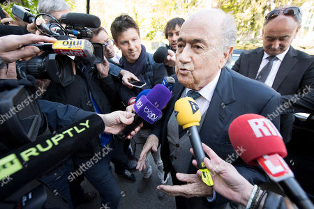 Former FIFA president Sepp Blatter arrives surrounded by the media to attend as a witness the hearing of UEFA President Michel Platini at the international Court of Arbitration for Sport, CAS, in Lausanne, Switzerland, . Platini has begun his appeal at the CAS against a six-year ban from football by FIFA over a US dollar 2 million payment approved by Blatter
