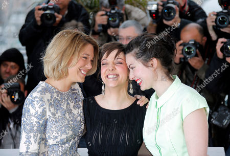 Lea Seydoux, Rebecca Zlotowski, Camille Lellouche. From left, actors Lea Seydoux, Camille Lellouche and director Rebecca Zlotowski pose during a photo call for the film Grand Central at the 66th international film festival, in Cannes, southern France