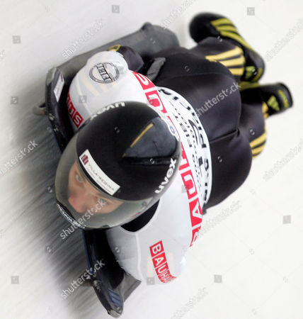 Germany's Michi Halilovic competes in the men's Skeleton World Championships in Lake Placid, N.Y