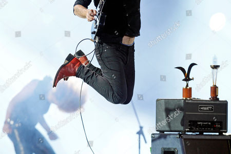 Stock Photo of La Ley, Pedro Frugone. Lead guitarist Pedro Frugone of the Chilean rock band La Ley, leaps into the air during a performance at the Vina del Mar International Song Festival in Vina del Mar, Chile, . Believed to be one of the largest musical events in Latin America, the annual weeklong festival was first inaugurated in 1960