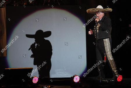 Mexican singer Vicente Fernandez performs a free farewell concert in Azteca Stadium in Mexico City, . The star of Mexican regional music sang songs from the span of his 50 year career