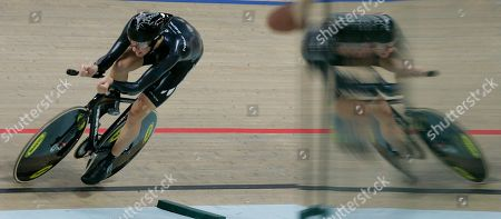 Jesse Sergent of New Zealand in action during qualifying for the Men's Individual Pursuit in the World Track Cycling Championships at Pruszkow, near Warsaw, Poland