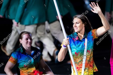 Flag-bearer Jazz Carlin of Wales leads the team during the athletes parade.