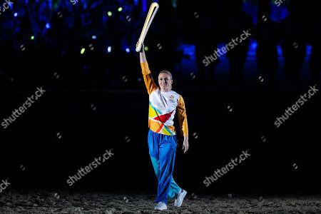 Sally Pearson of Australia with the Queen's Baton.