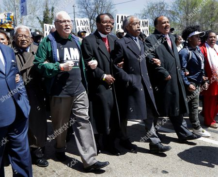 James Lawson, Lee Saunders, Charles E Blake Sr, Rev Al Sharpton, Martin Luther King III. People march in commemoration of the 50th anniversary of the assassination of Rev. Martin Luther King Jr., in Memphis, Tenn. From left are Rev. James Lawson, labor union leader Lee Saunders, Bishop Charles E. Blake Sr., Rev. Al Sharpton, and Martin Luther King III