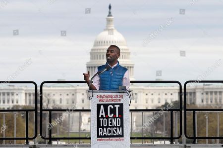 Activist DeRay Mckesson speaks at the A.C.T. To End Racism rally, on the National Mall in Washington, on the 50th anniversary of Martin Luther King Jr.'s assassination