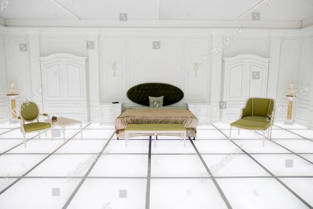 A general view of the immersive art installation entitled 'The Barmecide Feast', which is a full-scale reflection of the neo-classical hotel room from scenes of Stanley Kubrick and Arthur C. Clarke's film, '2001: A Space Odyssey', at the Smithsonian National Air and Space Museum in Washington, DC, USA, 04 April 2018. The room, which is 26.5 feet by 33 feet (8.07 by 10.05 meters), will be open to the public 08 April - 28 May, 2018. The film's world premiere occurred just over fifty years ago, on 02 April, 1968 - at Uptown Theater in Washington, DC. Hong Kong-based British artist Simon Birch conceived the art installation and worked with Paul Kember of architectural firm KplusK Associates to build it.