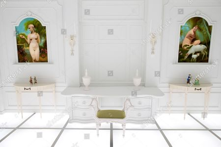Stock Image of A general view of the immersive art installation entitled 'The Barmecide Feast', which is a full-scale reflection of the neo-classical hotel room from scenes of Stanley Kubrick and Arthur C. Clarke's film, '2001: A Space Odyssey', at the Smithsonian National Air and Space Museum in Washington, DC, USA, 04 April 2018. The room, which is 26.5 feet by 33 feet (8.07 by 10.05 meters), will be open to the public 08 April - 28 May, 2018. The film's world premiere occurred just over fifty years ago, on 02 April, 1968 - at Uptown Theater in Washington, DC. Hong Kong-based British artist Simon Birch conceived the art installation and worked with Paul Kember of architectural firm KplusK Associates to build it.