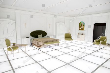 Stock Picture of A general view of the immersive art installation entitled 'The Barmecide Feast', which is a full-scale reflection of the neo-classical hotel room from scenes of Stanley Kubrick and Arthur C. Clarke's film, '2001: A Space Odyssey', at the Smithsonian National Air and Space Museum in Washington, DC, USA, 04 April 2018. The room, which is 26.5 feet by 33 feet (8.07 by 10.05 meters), will be open to the public 08 April - 28 May, 2018. The film's world premiere occurred just over fifty years ago, on 02 April, 1968 - at Uptown Theater in Washington, DC. Hong Kong-based British artist Simon Birch conceived the art installation and worked with Paul Kember of architectural firm KplusK Associates to build it.