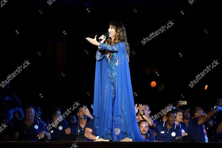Australian singer Delta Goodrem performs during the Opening Ceremony