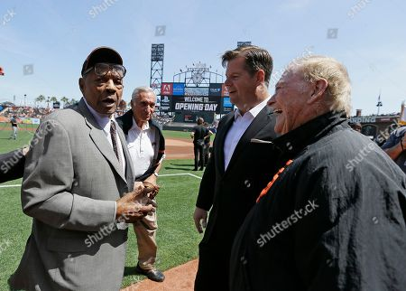 Willie Mays, Art Agnos, Mark Farrell, Frank Jordan. Hall of Fame Willie Mays, left, walks to meet from left, former San Francisco Mayor Art Agnos, San Francisco Mayor Mark Farrell, and former mayor Frank Jordan before the start of an opening day baseball game between the San Francisco Giants and the Seattle Mariners, in San Francisco