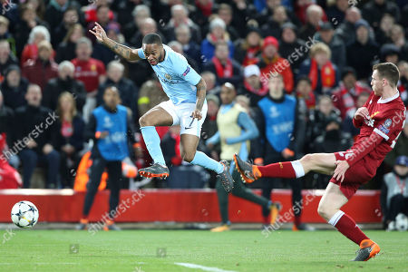 Manchester City midfielder Raheem Sterling (7) and Liverpool defender Andrew Robertson (26) during the Champions League match between Liverpool and Manchester City at Anfield, Liverpool. Picture by Craig Galloway