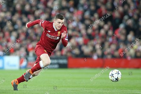 Liverpool defender Andrew Robertson (26) during the Champions League match between Liverpool and Manchester City at Anfield, Liverpool. Picture by Craig Galloway