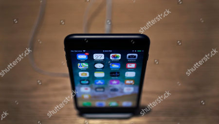 Stock Photo of An Apple iPhone X on display during an Apple event at their main store, in Chicago