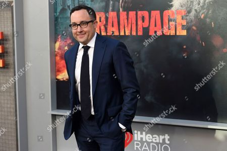 "Stock Image of P. J. Byrne arrives at the world premiere of ""Rampage"" at the Microsoft Theater, in Los Angeles"