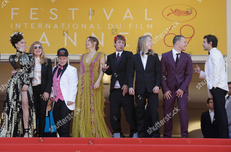 Stock Image of Sasha Lane, Andrea Arnold, Veronica Ezell, Riley Keough, Mccaul Lombardi, Isaiah Stone, Shia Labeouf. Actor Sasha Lane, from left, director Andrea Arnold, actors Veronica Ezell, Riley Keough, Mccaul Lombardi, Isaiah Stone and Shia Labeouf pose for photographers upon arrival at the screening of the film American Honey at the 69th international film festival, Cannes, southern France