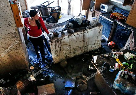 Sonia Marquez, an organizer with the Colorado Immigrant Rights Coalition, looks for keepsakes amid the muck inside one of the many homes now declared uninhabitable due to permanent flood damage at a decimated trailer park in Evans, Colo. The majority of the residents in the trailer park are immigrants who didn't have flood insurance, and because some are not citizens or legal residents, they can't get government help