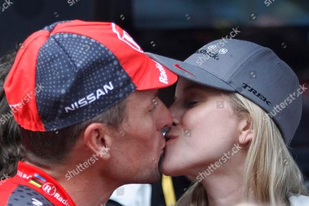 Lance Armstrong, Anna Hansen. Seven-time Tour de France winner Lance Armstrong of the US kisses his girlfriend Anna Hansen, right, prior to the prologue of the Tour de France cycling race, an individual time trial over 8,9 kilometers (5.5 miles) in the port city of Rotterdam, Netherlands