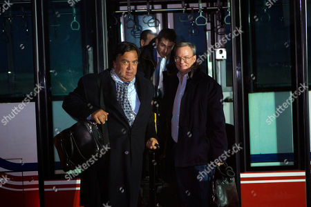 Bill Richardson, Eric Schmidt, Jared Cohen. Former New Mexico Gov. Bill Richardson, left, and Executive Chairman of Google, Eric Schmidt, disembark from an airport transfer bus after arriving at Pyongyang International Airport in Pyongyang, North Korea on . Richardson called the trip to North Korea a private humanitarian visit. In the background is Google Ideas think tank director, Jared Cohen