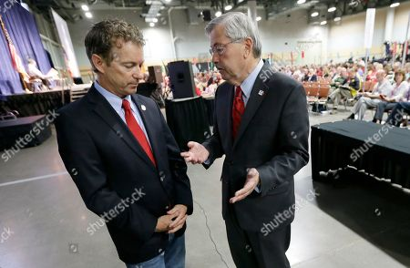 Rand Paul, Terry Branstad. Iowa Gov. Terry Branstad, right, talks with Sen. Rand Paul, R-Ky., left, during the Iowa State Republican Convention, in Des Moines, Iowa