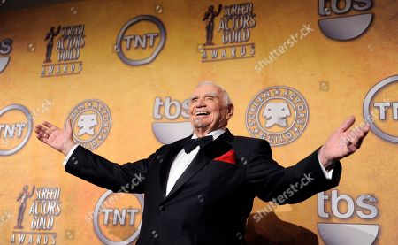 Ernest Borgnine poses backstage after receiving the life achievement award at the 17th Annual Screen Actors Guild Awards on in Los Angeles