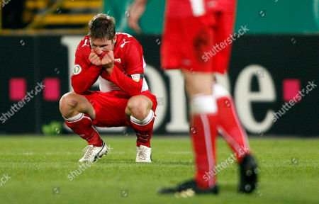 Stock Picture of Thomas Hitzelsperger. Stuttgart's Thomas Hitzlsperger reacts after the German soccer cup DFB Pokal, third round match between SpVgg Fuerth and VfB Stuttgart in Fuerth, Germany, . Stuttgart lost 0-1