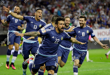 Stock Image of Argentina forward Ezequiel Lavezzi (22) celebrates his goal against the United States during a Copa America Centenario soccer semifinal, in Houston