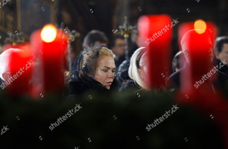 """Widow Dagmar Havlova attends the state funeral of former Czech President Vaclav Havel in the St. Vitus Cathedral in Prague, Czech Republic, . Havel was the leader of the peaceful anti-communist """"Velvet Revolution."""" He died Sunday, Dec. 18, at age 75"""