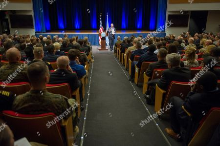 Defense Secretary Ash Carter speaks in the Pentagon auditorium, to address staff at an all hands meeting. Carter was sworn in Tuesday, replacing Chuck Hagel