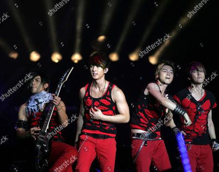 "Wu Chun, Aaron Yan, Jiro Wang, Calvin Chen. From left, Jiro Wang, Wu Chun, Calvin Chen and Aaron Yan of Taiwanese boy band Fahrenheit perform during their ""Fahrenheit's Fantasy World Tour Live In Malaysia"" concert in Kuala Lumpur, Malaysia"