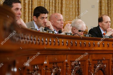 Dave Camp, Sam Johnson, Kevin Brady, Paul Ryan, Devin Nunes. From right to left: House Ways and Means Committee Chairman Rep. Dave Camp, R-Mich.; Rep. Sam Johnson, R-Texas; Rep. Kevin Brady, R-Texas; Rep. Paul Ryan, R-Wis.; and Rep. Devin Nunes, R-Calif.; listen on Capitol Hill in Washington, as organizations that say they were unfairly targeted by the Internal Revenue Service while seeking tax-exempt status during a hearing of the committee