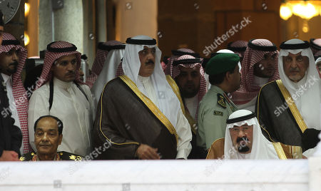 King Abdullah of Saudi Arabia, right bottom, and Egypt's military ruler Field Marshal Hussein Tantawi, left botton, attend with other royal family princes the funeral of the Saudi late Crown Prince Nayef bin Abdul-Aziz Al Saud inside the Grand Mosque, in the Saudi holy city of Mecca, Saudi Arabia, . The aged king of Saudi Arabia led a burial ceremony Sunday for his brother, Crown Prince Nayef Abdul-Aziz, in the holy city of Mecca before his internment following evening prayers. He was the second heir to the throne to die outside the country in less than a year