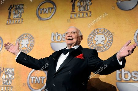Ernest Borgnine poses backstage after receiving the life achievement award at the 17th Annual Screen Actors Guild Awards in Los Angeles. A spokesman said, that Borgnine has died at the age of 95