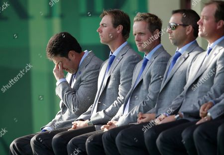 Stock Picture of European team captain Jose Maria Olazabal wipes away a tear as they talk about Seve Ballesteros passing during the opening ceremony at the Ryder Cup PGA golf tournament, at the Medinah Country Club in Medinah, Ill