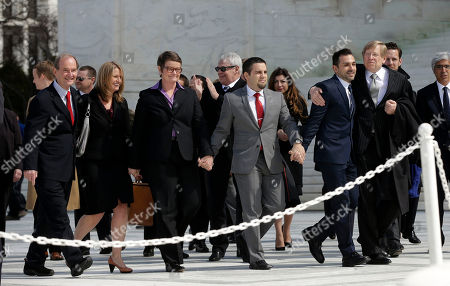 Kris Perry, Sandy Stier, Jeff Zarillo, Paul Katami, Theodore Olson, David Boies. From left, attorney David Boies, plaintiffs, Sandy Stier, with partner Kris Perry, from Berkeley, Calif., Jeff Zarrillo, with partner Paul Katami from Burbank, Calif., and their attorney Theodore Olson leave the Supreme Court in Washington, after the heard arguments on California's voter approved ban on same-sex marriage, Proposition 8. The Supreme Court waded into the fight over same-sex marriage Tuesday, at a time when public opinion is shifting rapidly in favor of permitting gay and lesbian couples to wed, but 40 states don't allow it
