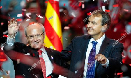 Jose Montilla, Jose Luis Rodriguez Zapatero. Spanish Prime Minister Jose Luis Rodriguez Zapatero, right, and current Catalan regional president Jose Montilla of the Catalan Socialist party (PSC) wave during a meeting in Barcelona, Spain, . In Catalonia's elections, many see the beginning of the end of the Socialists' grip on power in Spain. Zapatero's party is expected to suffer a big loss in the rich northeastern region's weekend ballot _ punishment for the country's economic woes that could snowball into a string of setbacks culminating in defeat in national elections in 2012