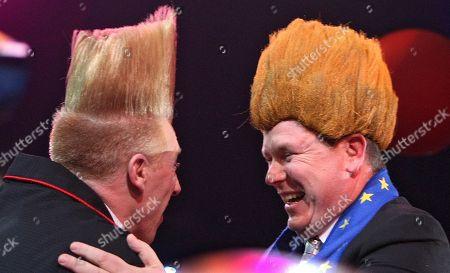 Prince Albert II of Monaco, Bello Nock. Prince Albert II of Monaco, right, wears for fun, the same wig of the American clown Bello Nock, left, winner of the 2011 Golden clown award at the 35th Monte-Carlo International Circus Festival in Monaco