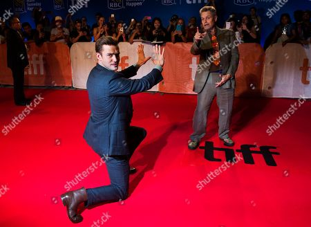 """Jonathan Demme, Justin Timberlake. Actor and singer Justin Timberlake, left, and director Jonathan Demme joke around as they arrive on the red carpet for the premiere of """"Justin Timberlake and The Tennessee Kids"""" during the 2016 Toronto International Film Festival in Toronto"""