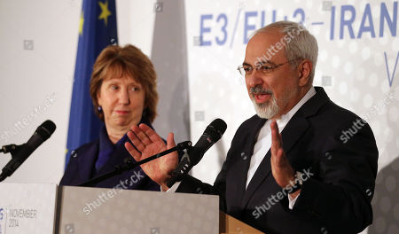 Stock Photo of Catherine Ashton, Mohamad Javad Zarif. Former European foreign policy chief Catherine Ashton, left, and Iranian Foreign Minister Mohamad Javad Zarif, right, address the media after closed-door nuclear talks in Vienna, Austria, . Facing still significant differences between the U.S. and Iran, negotiators gave up on last-minute efforts to get a nuclear deal by the Monday deadline and extended their talks for another seven months